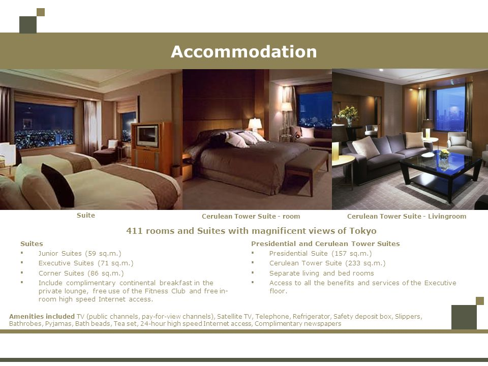 Accommodation 411 rooms and Suites with magnificent views of Tokyo Cerulean Tower Suite - room Cerulean Tower Suite - Livingroom Suite Suites Junior S