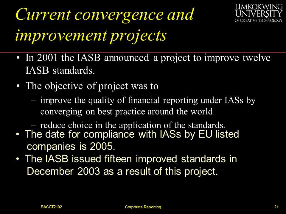 BACCT2102Corporate Reporting20 International bodies Standardising and Harmonising IASC –IASs –IFRSs European Union –Directives –Adopting IASs IOSCO –C