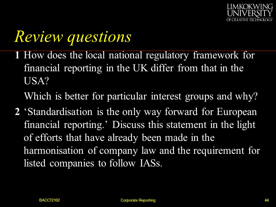 BACCT2102Corporate Reporting43 Supplementary statements Figure 1.5 Examples of multiple reporting