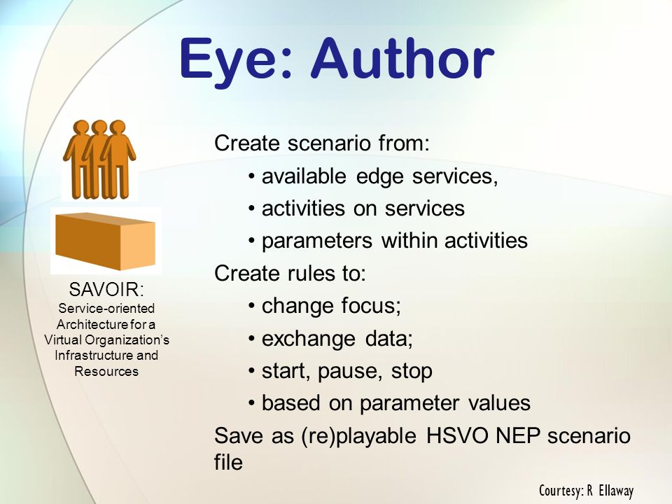 Eye: Author Create scenario from: available edge services, activities on services parameters within activities Create rules to: change focus; exchange data; start, pause, stop based on parameter values Save as (re)playable HSVO NEP scenario file SAVOIR: Service-oriented Architecture for a Virtual Organizations Infrastructure and Resources Courtesy: R Ellaway