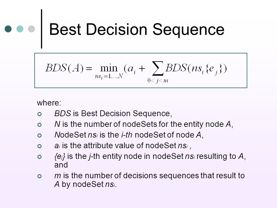 Best Decision Sequence where: BDS is Best Decision Sequence, N is the number of nodeSets for the entity node A, NodeSet ns i is the i-th nodeSet of node A, a i is the attribute value of nodeSet ns i, {e j } is the j-th entity node in nodeSet ns i resulting to A, and m is the number of decisions sequences that result to A by nodeSet ns i.