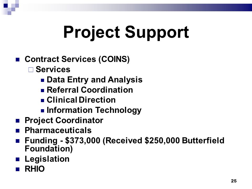 25 Project Support Contract Services (COINS) Services Data Entry and Analysis Referral Coordination Clinical Direction Information Technology Project Coordinator Pharmaceuticals Funding - $373,000 (Received $250,000 Butterfield Foundation) Legislation RHIO