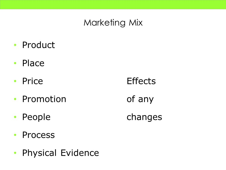 Marketing Mix Product Place PriceEffects Promotionof any Peoplechanges Process Physical Evidence