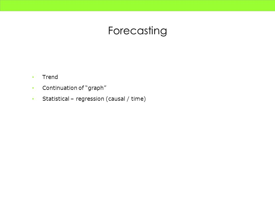 Forecasting Trend Continuation of graph Statistical – regression (causal / time)