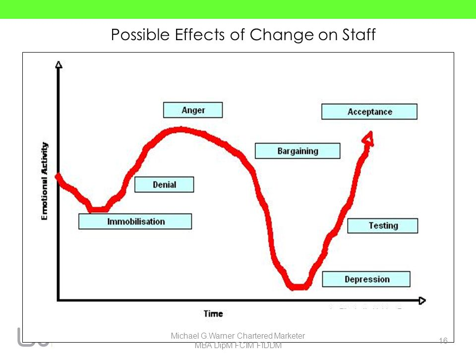 Possible Effects of Change on Staff 16 Michael G.Warner Chartered Marketer MBA DipM FCIM FIDDM