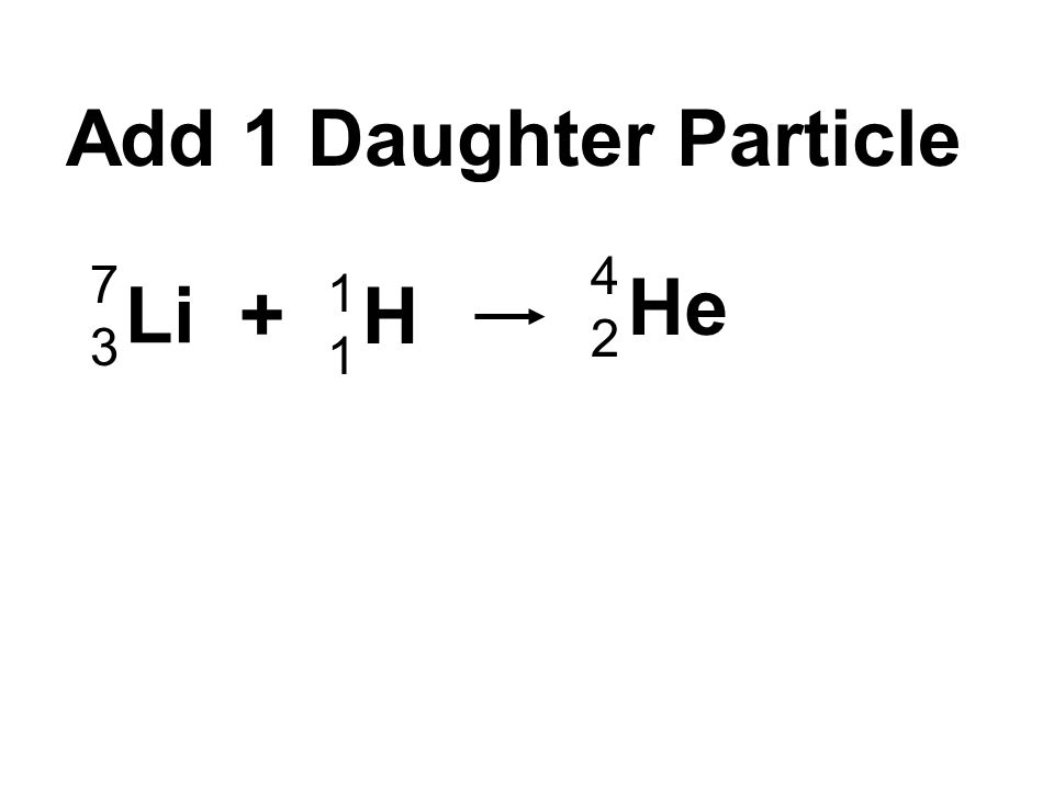 Li + H 1111 7373 He 4242 Add 1 Daughter Particle