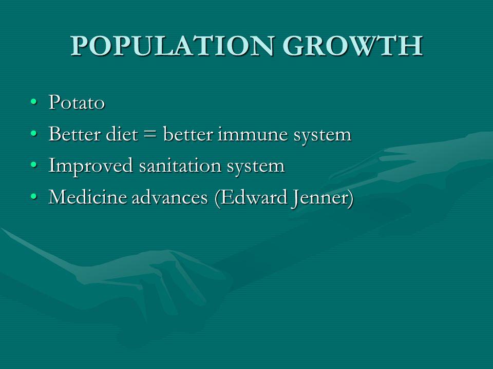 POPULATION GROWTH PotatoPotato Better diet = better immune systemBetter diet = better immune system Improved sanitation systemImproved sanitation syst