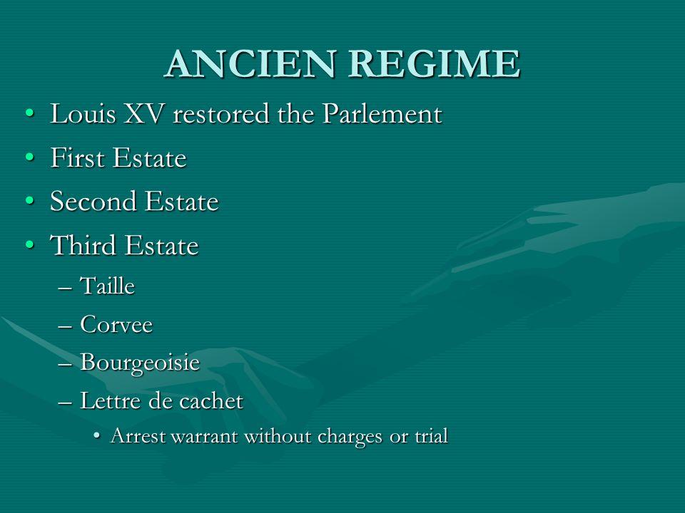 ANCIEN REGIME Louis XV restored the ParlementLouis XV restored the Parlement First EstateFirst Estate Second EstateSecond Estate Third EstateThird Est