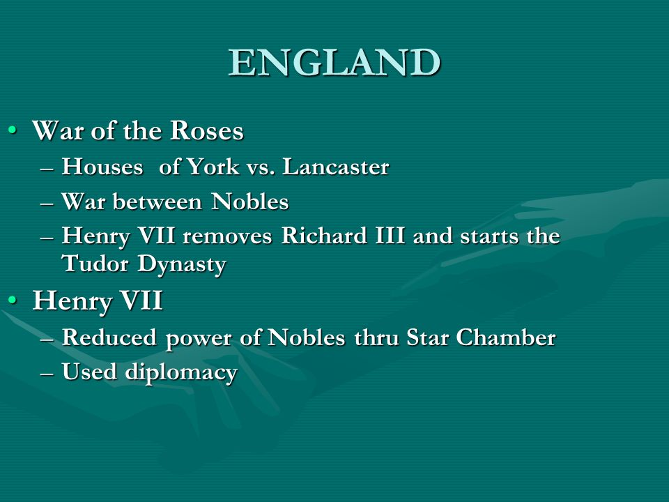 ENGLAND War of the RosesWar of the Roses –Houses of York vs. Lancaster –War between Nobles –Henry VII removes Richard III and starts the Tudor Dynasty