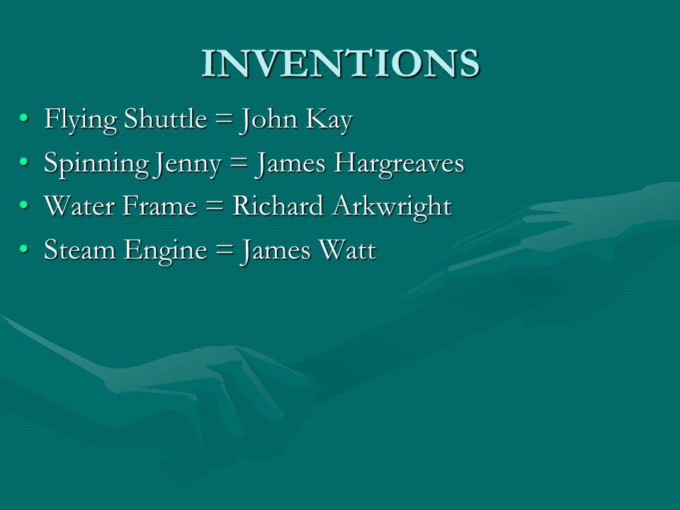 INVENTIONS Flying Shuttle = John KayFlying Shuttle = John Kay Spinning Jenny = James HargreavesSpinning Jenny = James Hargreaves Water Frame = Richard