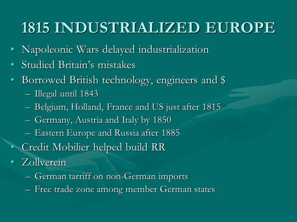 1815 INDUSTRIALIZED EUROPE Napoleonic Wars delayed industrializationNapoleonic Wars delayed industrialization Studied Britains mistakesStudied Britain