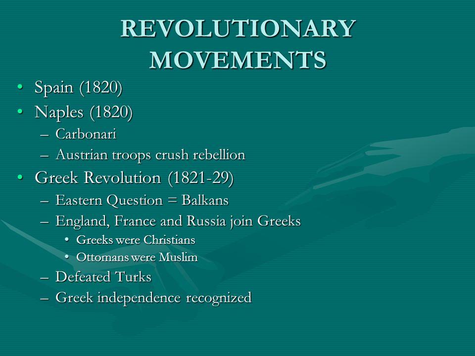 REVOLUTIONARY MOVEMENTS Spain (1820)Spain (1820) Naples (1820)Naples (1820) –Carbonari –Austrian troops crush rebellion Greek Revolution (1821-29)Gree