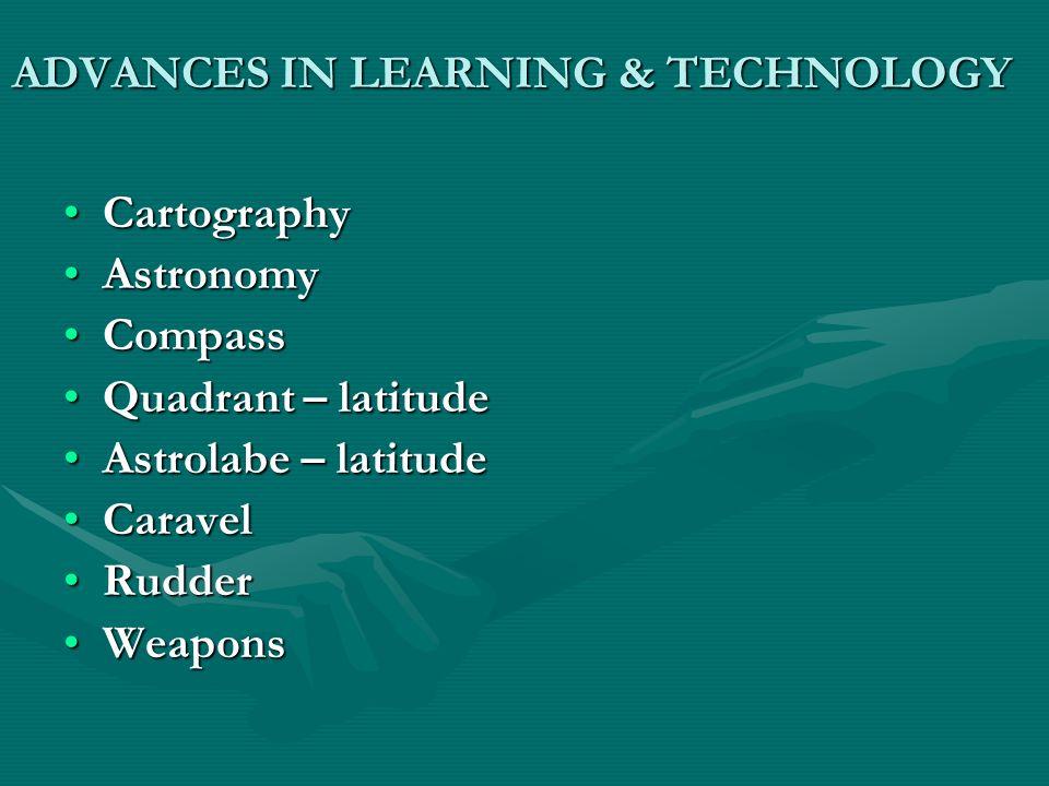 ADVANCES IN LEARNING & TECHNOLOGY CartographyCartography AstronomyAstronomy CompassCompass Quadrant – latitudeQuadrant – latitude Astrolabe – latitude