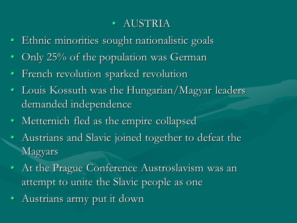 AUSTRIAAUSTRIA Ethnic minorities sought nationalistic goalsEthnic minorities sought nationalistic goals Only 25% of the population was GermanOnly 25%