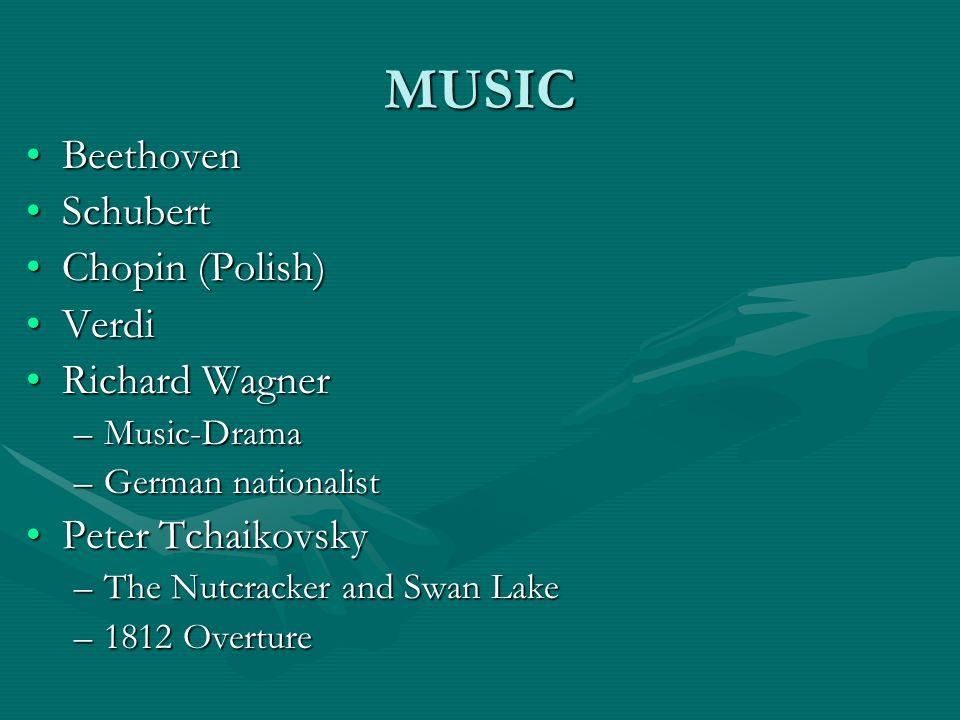 MUSIC BeethovenBeethoven SchubertSchubert Chopin (Polish)Chopin (Polish) VerdiVerdi Richard WagnerRichard Wagner –Music-Drama –German nationalist Pete