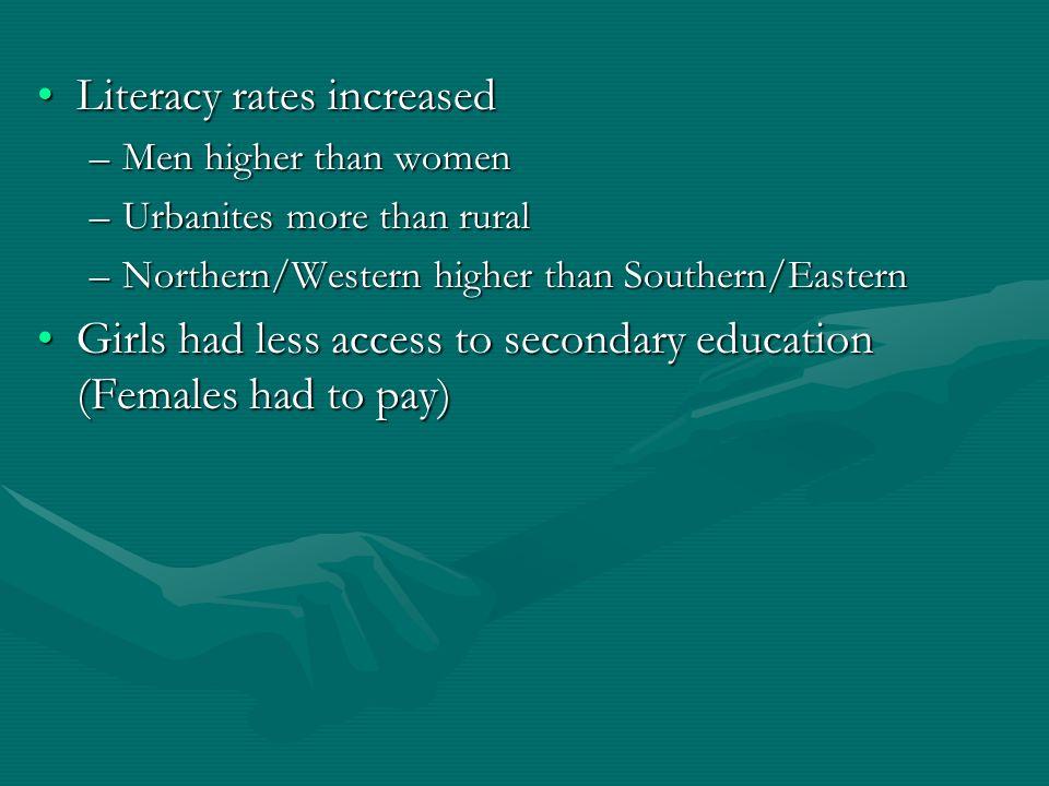 Literacy rates increasedLiteracy rates increased –Men higher than women –Urbanites more than rural –Northern/Western higher than Southern/Eastern Girl