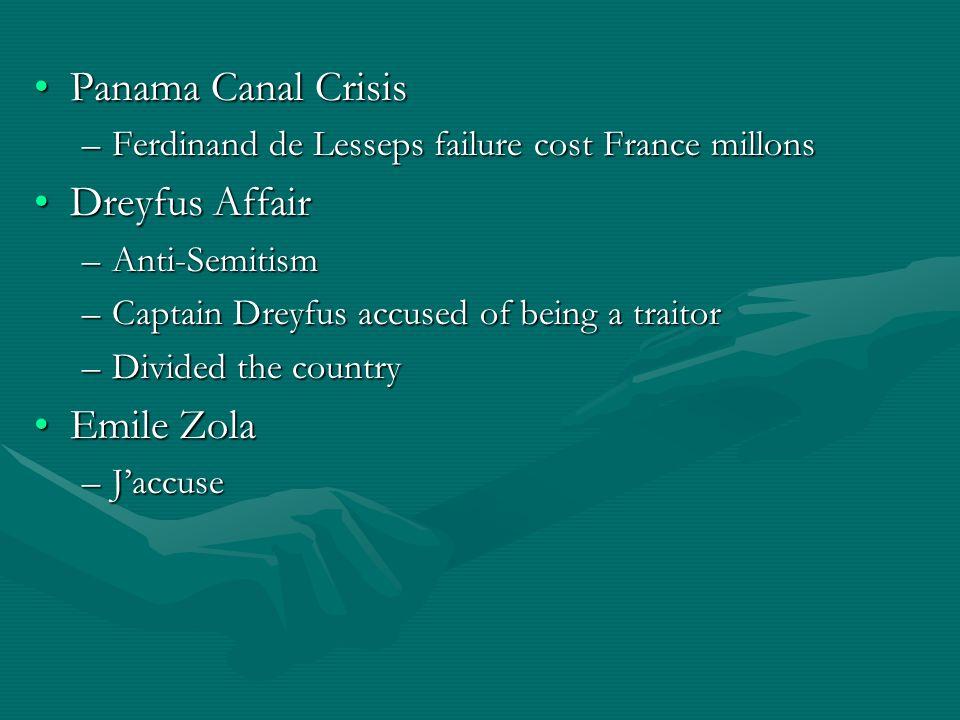 Panama Canal CrisisPanama Canal Crisis –Ferdinand de Lesseps failure cost France millons Dreyfus AffairDreyfus Affair –Anti-Semitism –Captain Dreyfus