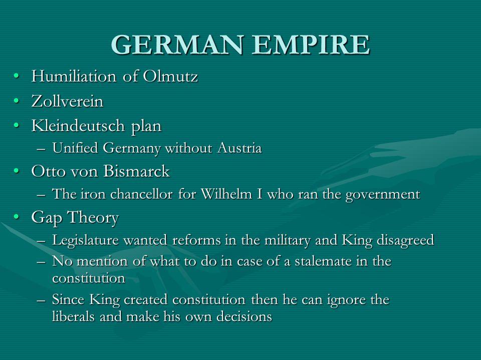 GERMAN EMPIRE Humiliation of OlmutzHumiliation of Olmutz ZollvereinZollverein Kleindeutsch planKleindeutsch plan –Unified Germany without Austria Otto