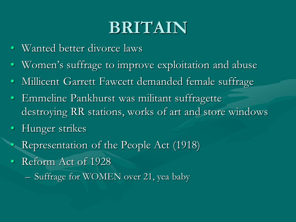 BRITAIN Wanted better divorce lawsWanted better divorce laws Womens suffrage to improve exploitation and abuseWomens suffrage to improve exploitation