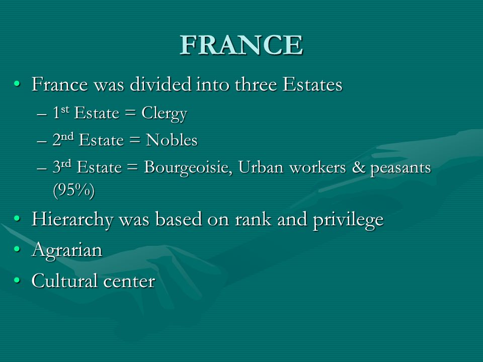 FRANCE France was divided into three EstatesFrance was divided into three Estates –1 st Estate = Clergy –2 nd Estate = Nobles –3 rd Estate = Bourgeois