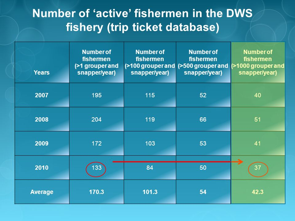 Number of active fishermen in the DWS fishery (trip ticket database) Years Number of fishermen (>1 grouper and snapper/year) Number of fishermen (>100 grouper and snapper/year) Number of fishermen (>500 grouper and snapper/year) Number of fishermen (>1000 grouper and snapper/year) 20071951155240 20082041196651 20091721035341 2010133845037 Average170.3101.35442.3