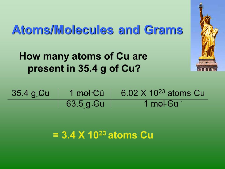 24 molar mass Avogadros number Grams Moles particles Everything must go through Moles!!! Calculations