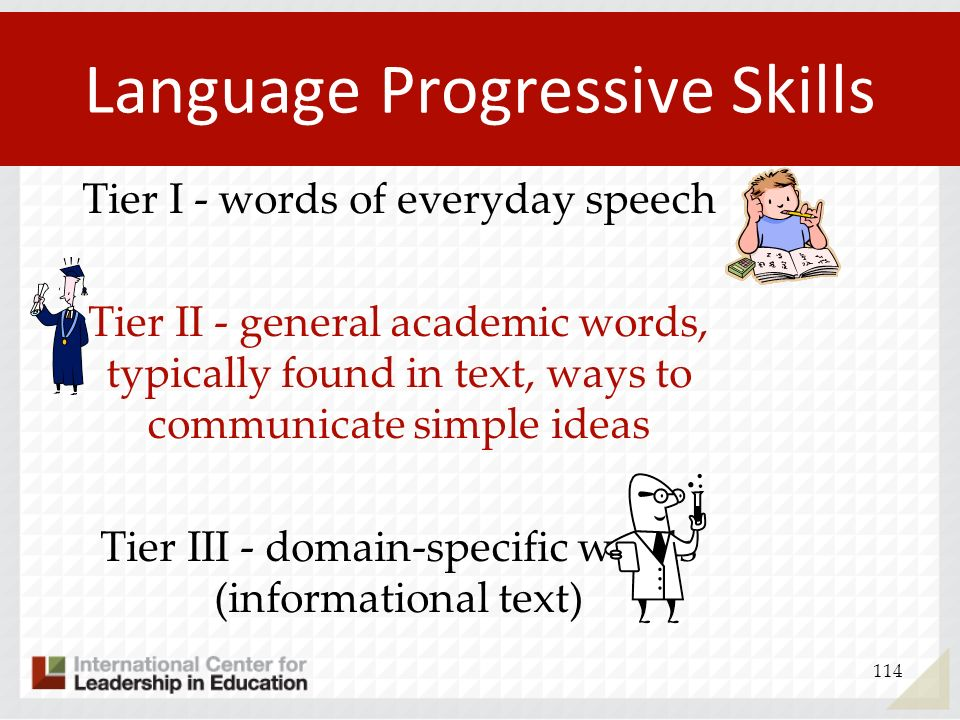 Language Progressive Skills 114 Tier I - words of everyday speech Tier II - general academic words, typically found in text, ways to communicate simpl