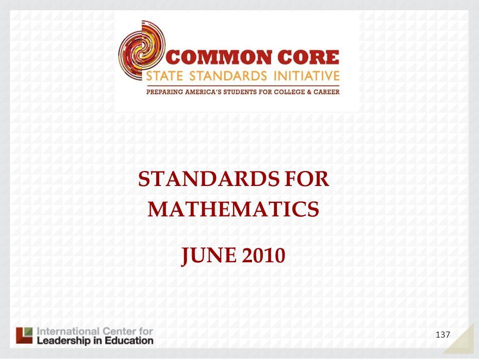 STANDARDS FOR MATHEMATICS JUNE 2010 137