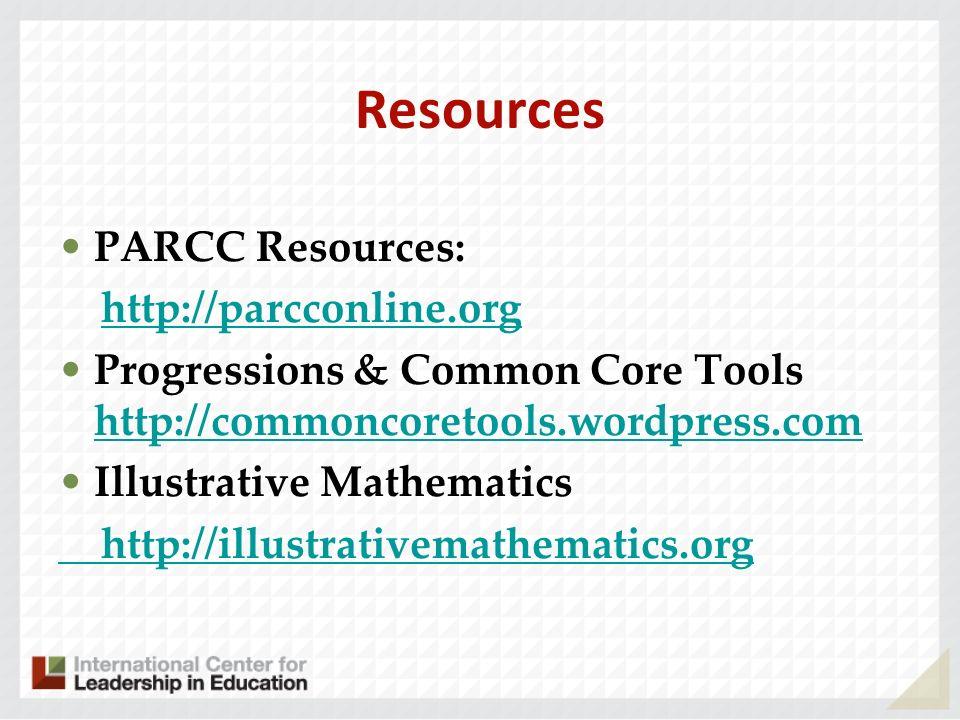 Resources PARCC Resources: http://parcconline.org Progressions & Common Core Tools http://commoncoretools.wordpress.com http://commoncoretools.wordpre