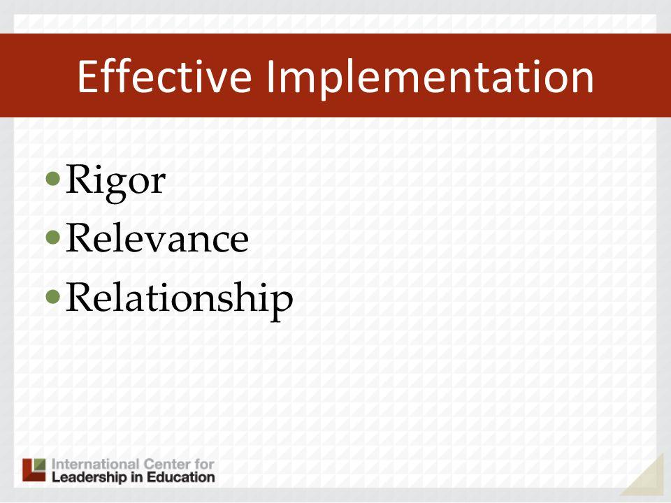 Effective Implementation Rigor Relevance Relationship