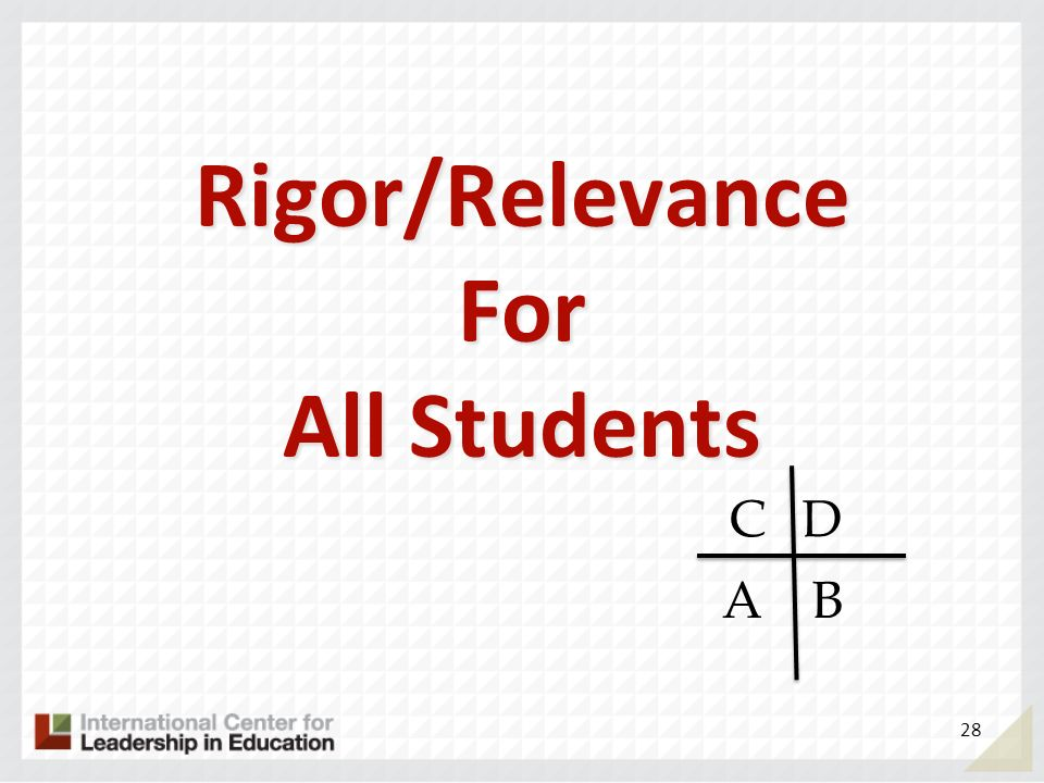 Rigor/Relevance For All Students 28 AB DC