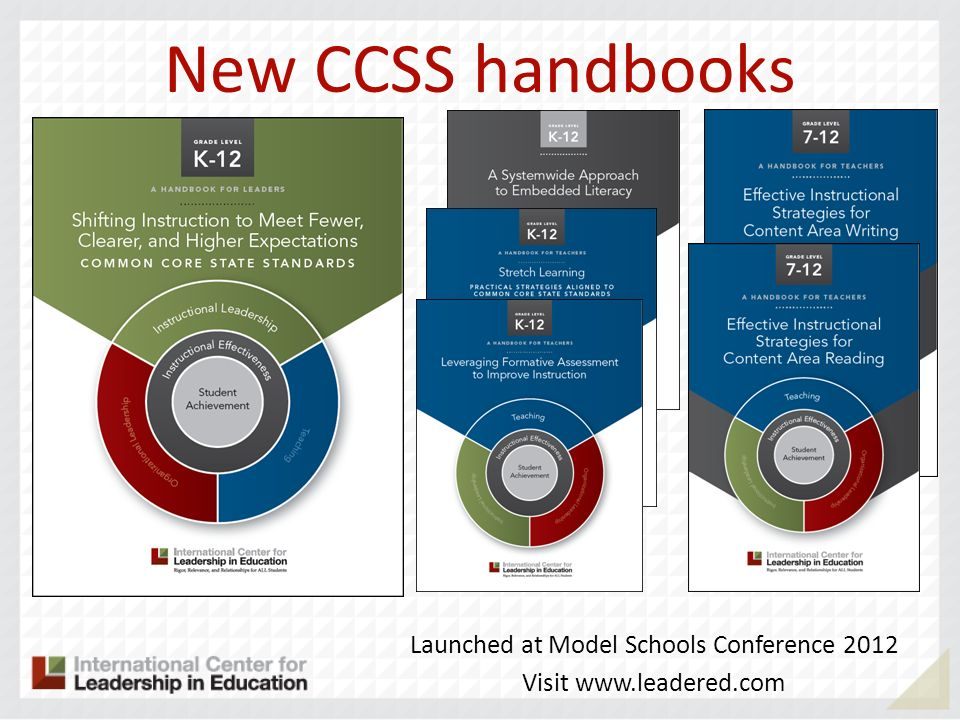 New CCSS handbooks Launched at Model Schools Conference 2012 Visit www.leadered.com