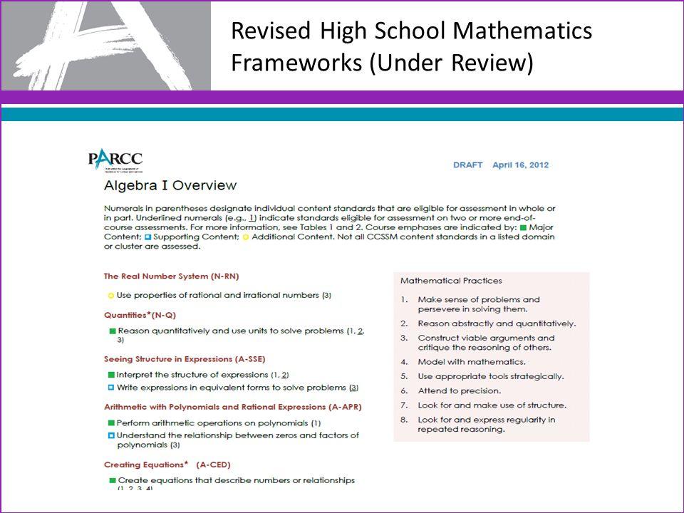 Revised High School Mathematics Frameworks (Under Review)