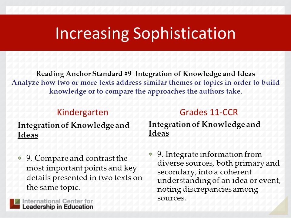 Increasing Sophistication Kindergarten Integration of Knowledge and Ideas 9. Compare and contrast the most important points and key details presented