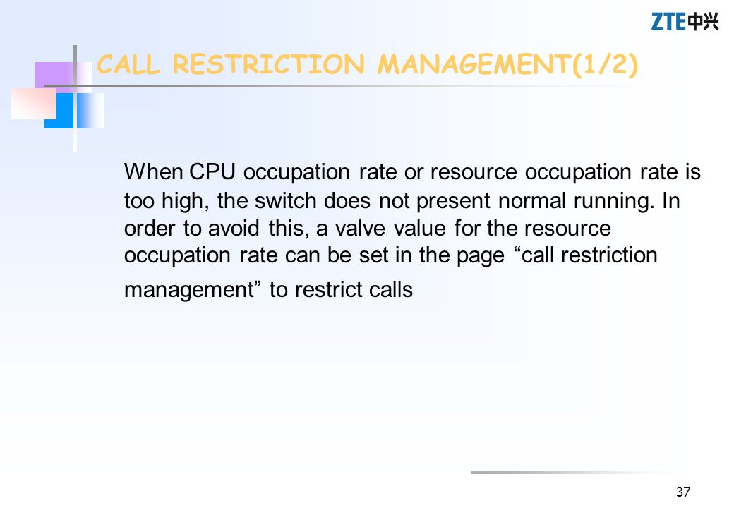 37 When CPU occupation rate or resource occupation rate is too high, the switch does not present normal running. In order to avoid this, a valve value
