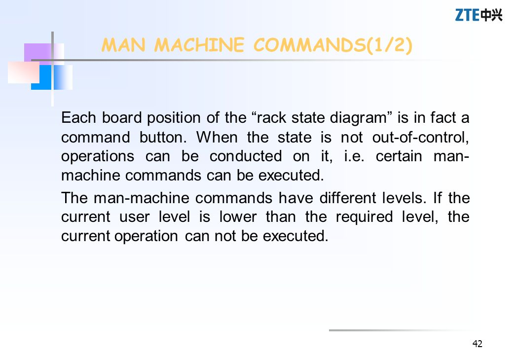 42 Each board position of the rack state diagram is in fact a command button. When the state is not out-of-control, operations can be conducted on it,