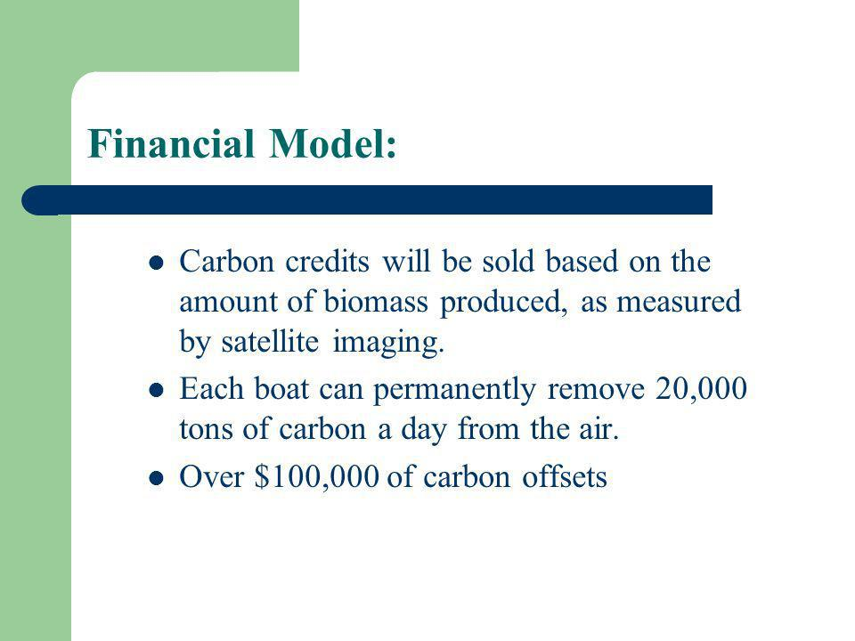 Financial Model: Carbon credits will be sold based on the amount of biomass produced, as measured by satellite imaging.
