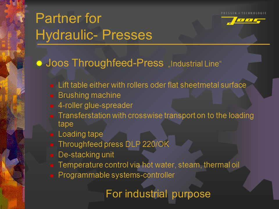 Partner for Hydraulic- Presses Joos Throughfeed-Press Industrial Line Lift table either with rollers oder flat sheetmetal surface Brushing machine 4-r