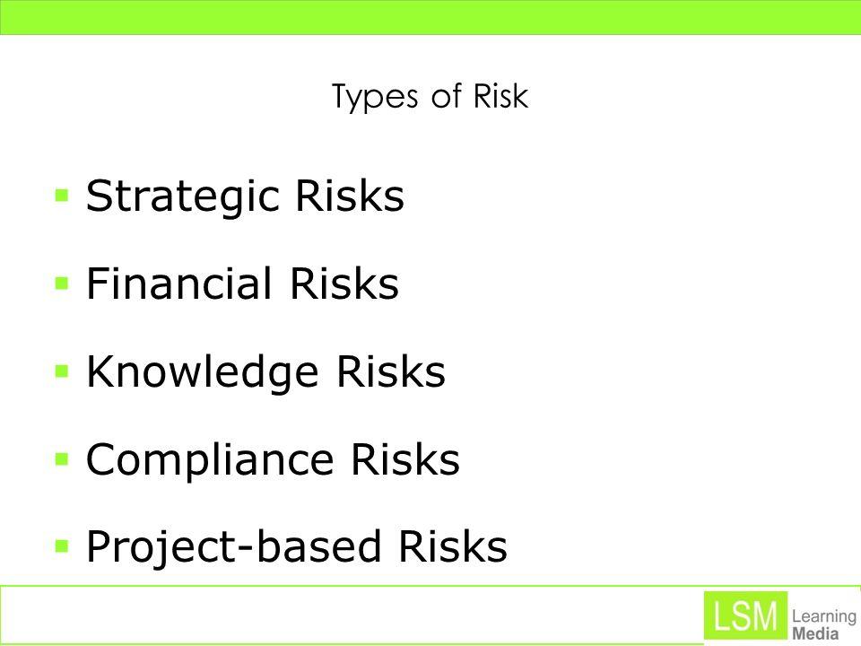 Types of Risk Strategic Risks Financial Risks Knowledge Risks Compliance Risks Project-based Risks