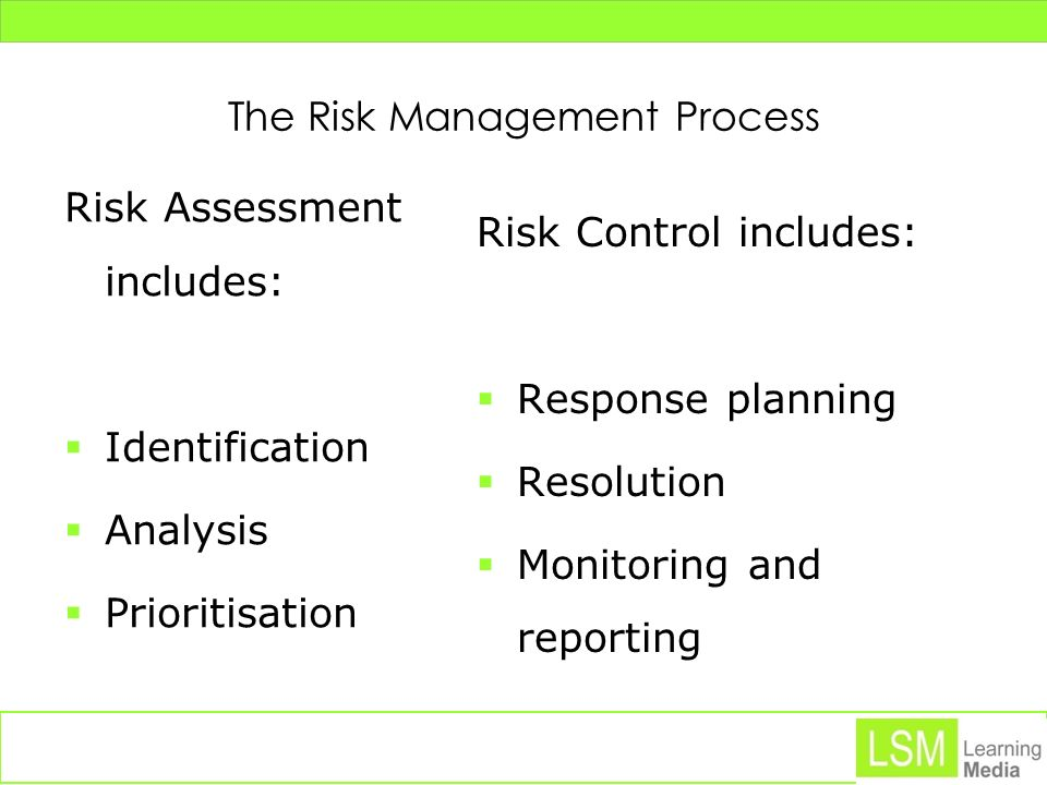 Risk Identification The risk management process begins by trying list all possible risks that could affect the project.