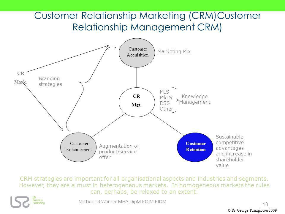Customer Relationship Marketing (CRM)Customer Relationship Management CRM) CRM strategies are important for all organisational aspects and industries