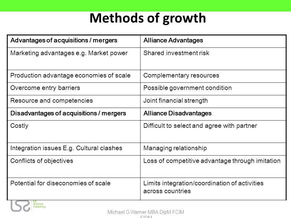 Methods of growth Advantages of acquisitions / mergersAlliance Advantages Marketing advantages e.g. Market powerShared investment risk Production adva