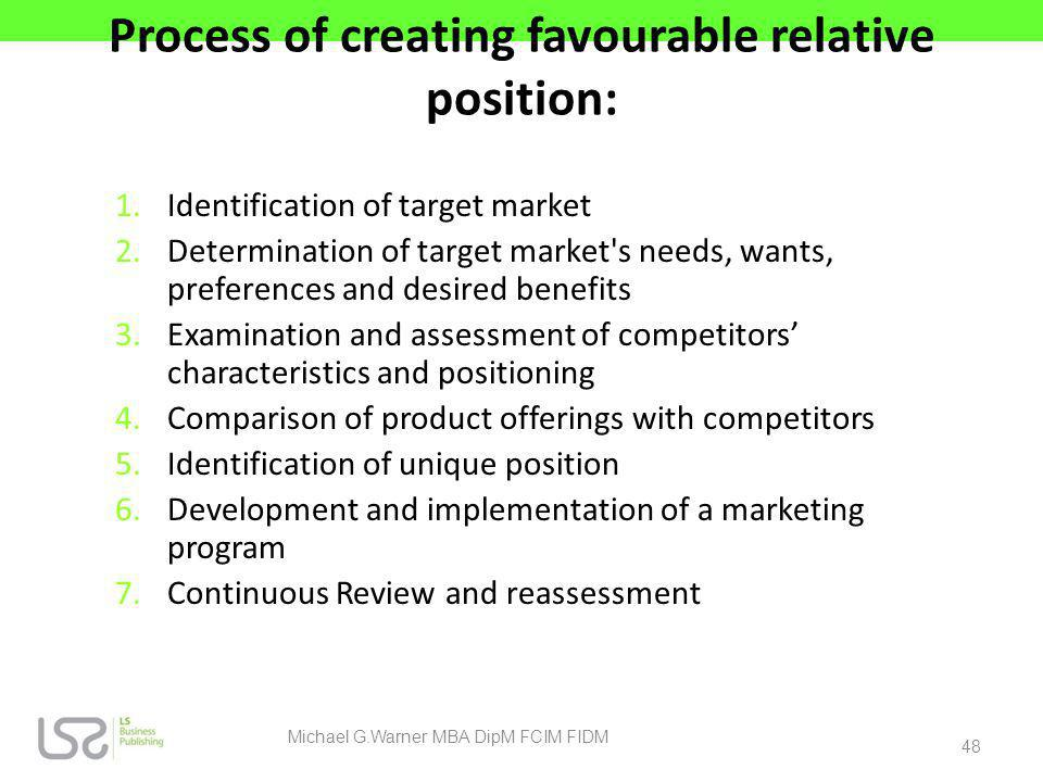Process of creating favourable relative position: 1.Identification of target market 2.Determination of target market's needs, wants, preferences and d