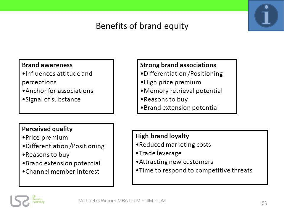 Benefits of brand equity Brand awareness Influences attitude and perceptions Anchor for associations Signal of substance Perceived quality Price premi