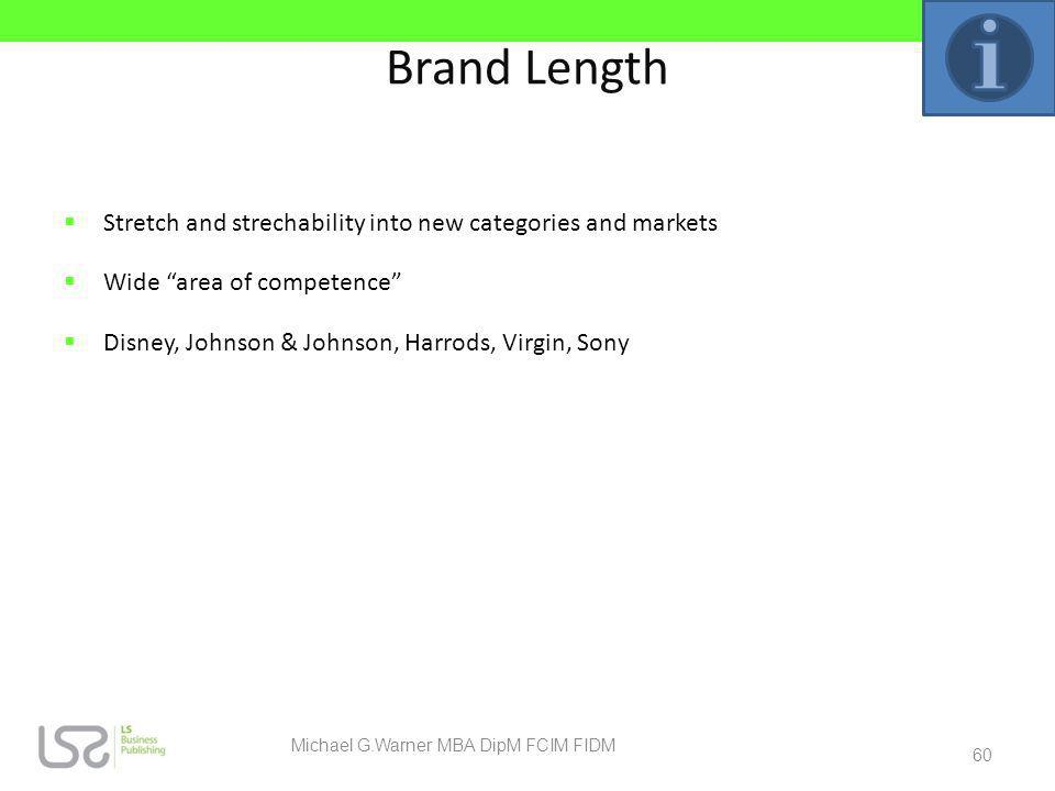 Brand Length Stretch and strechability into new categories and markets Wide area of competence Disney, Johnson & Johnson, Harrods, Virgin, Sony 60 Mic