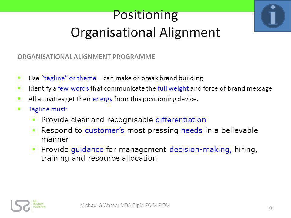 Positioning Organisational Alignment ORGANISATIONAL ALIGNMENT PROGRAMME Use tagline or theme – can make or break brand building Identify a few words t