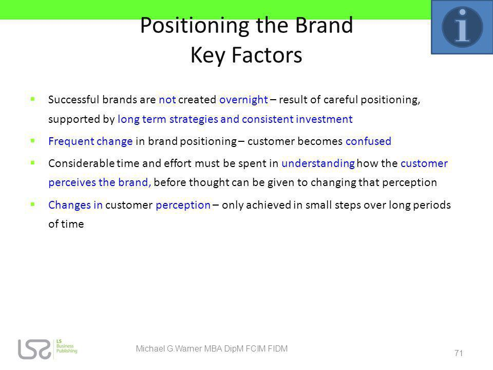 Positioning the Brand Key Factors Successful brands are not created overnight – result of careful positioning, supported by long term strategies and c