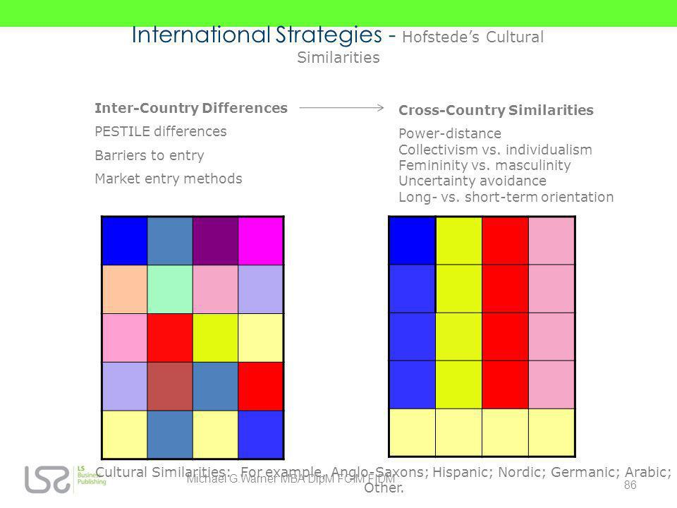 Inter-Country Differences PESTILE differences Barriers to entry Market entry methods Cross-Country Similarities Power-distance Collectivism vs. indivi