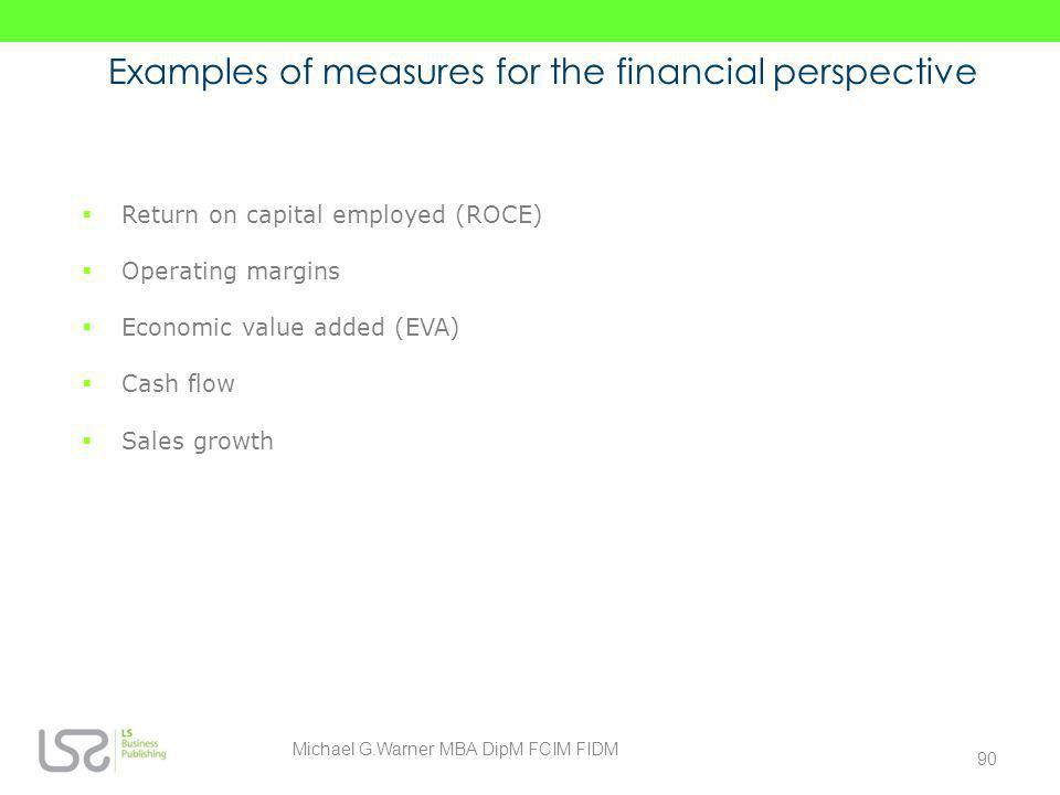 Examples of measures for the financial perspective Return on capital employed (ROCE) Operating margins Economic value added (EVA) Cash flow Sales grow