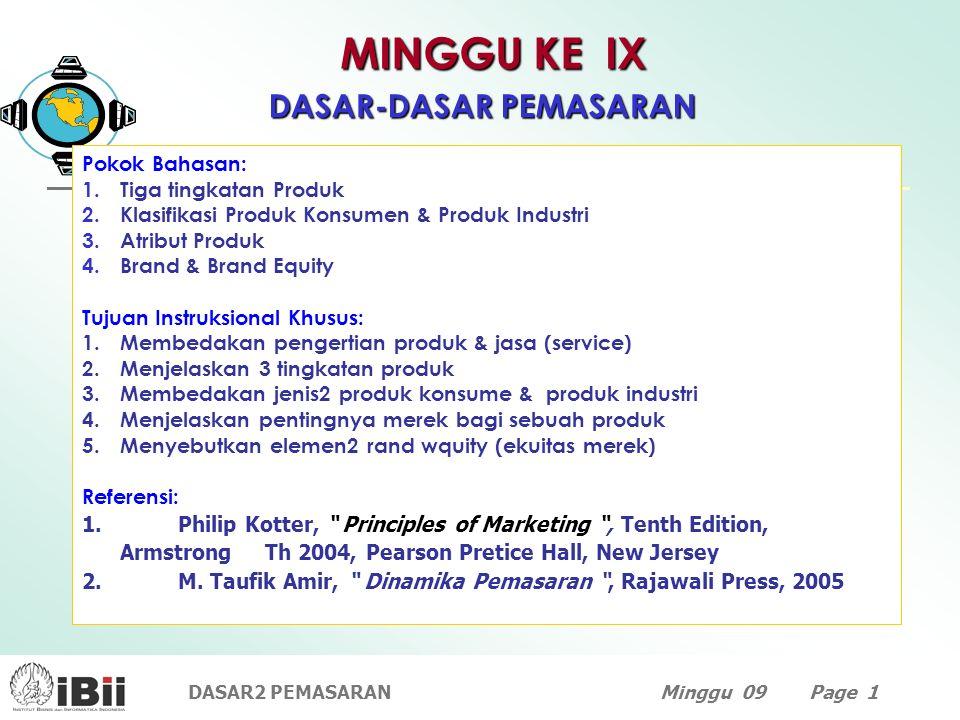 DASAR2 PEMASARANMinggu 09 Page 1 MINGGU KE IX DASAR-DASAR PEMASARAN Pokok Bahasan: 1.Tiga tingkatan Produk 2.Klasifikasi Produk Konsumen & Produk Indu